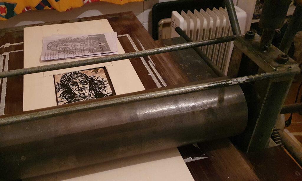 Tiefdruckpresse Holzschnittplatte Kalender 2021